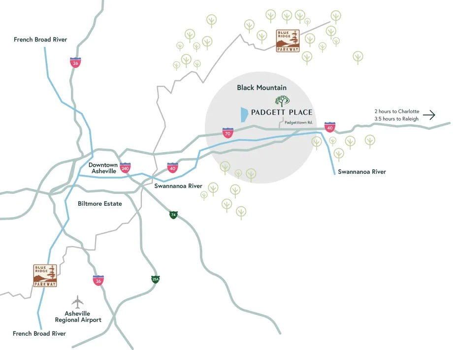 Overview map of Black Mountain showing Padgett Place, the airport and other key areas